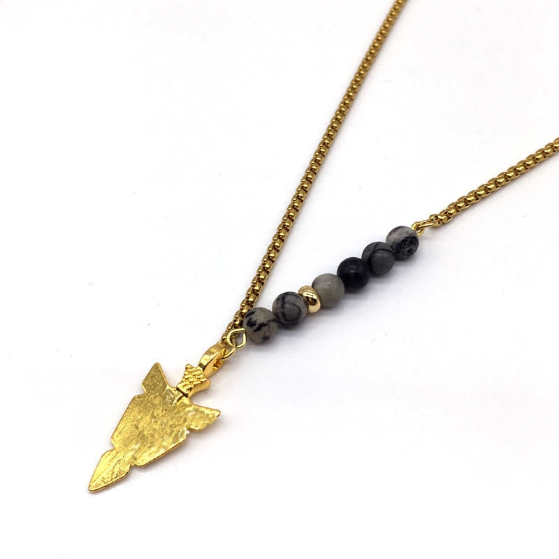 Man Arrow Chain Beads Necklace
