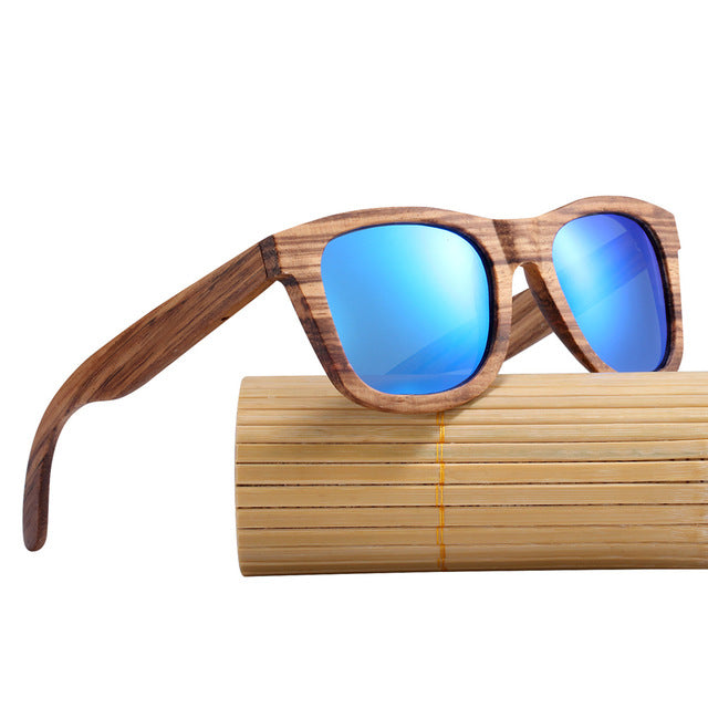 Men Vintage Square Wood Sunglasses
