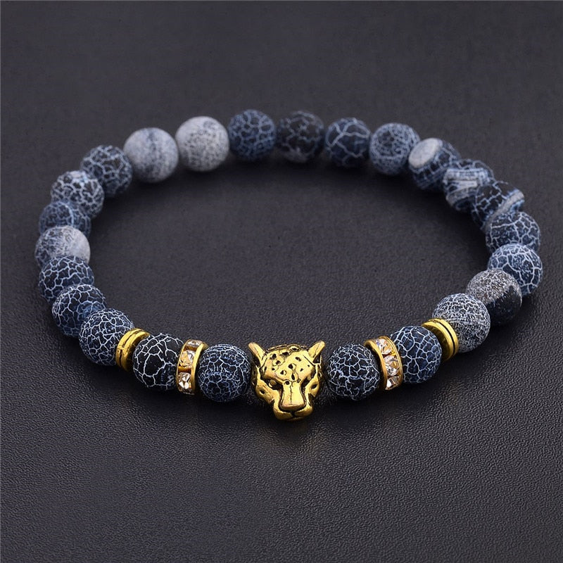 Men Leopard Head Beaded Bracelet