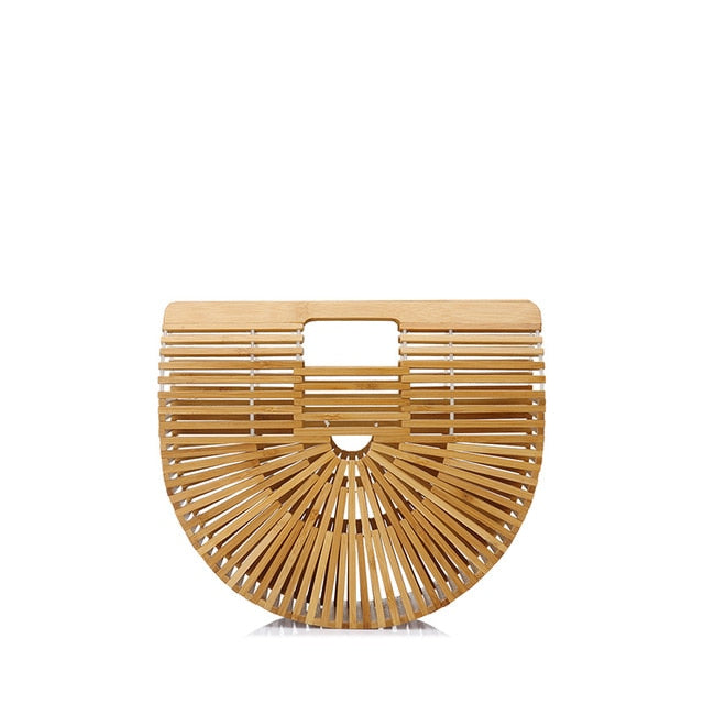 Woman Bamboo Half Moon Handbag