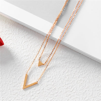 Woman Rose Gold Color Double Layer Necklace