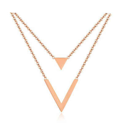Women Rose Gold Color Double Layer Necklace