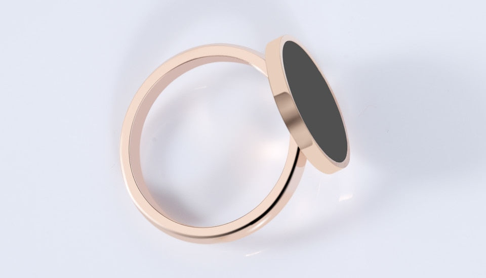 Woman Charm Rose Gold Titanium Rings