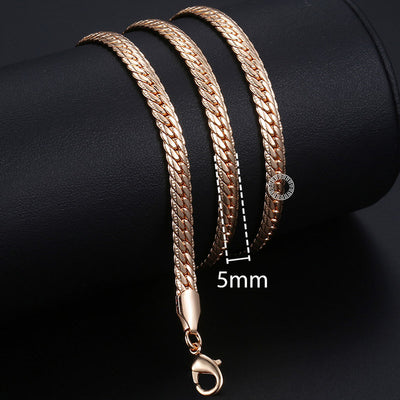 Rose Gold Curb Snail Link Chains