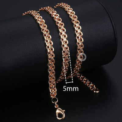 Men Rose Gold Curb Snail Link Chains - High Quality Necklaces 2019
