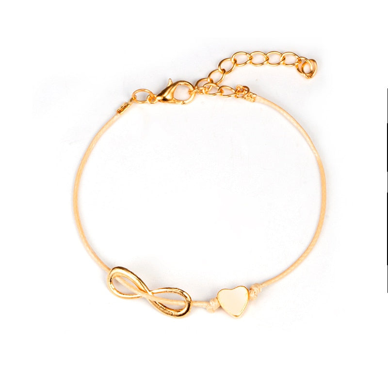Women Gold Charm Wrist Link Chain