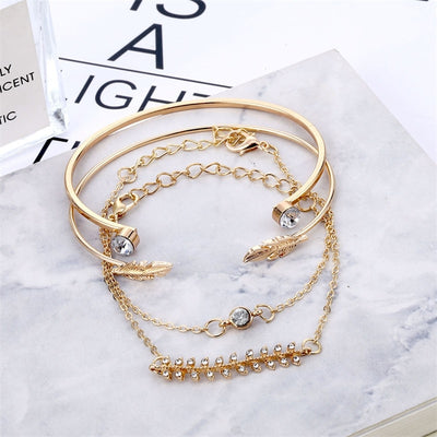 Women Bohemian Crystal Leaves Bracelet Set