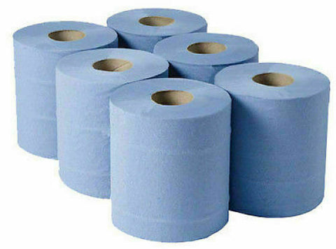 6 Rolls Blue Centre Feed Embossed 2ply Wiper Paper Towel Kitchen Roll