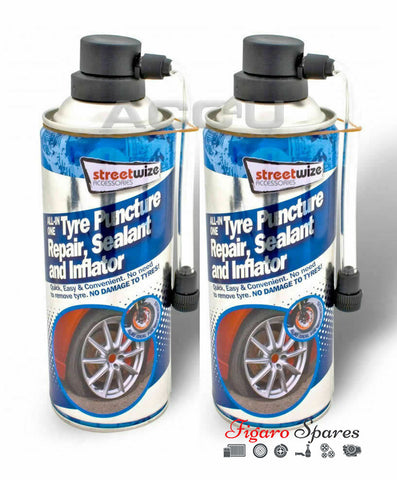 2 x Emergency Car Flat Tyre Fix Puncture Repair Foam Sealant Inflator Can
