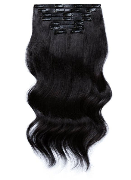 18 inch Seamless Clip in Hair Extensions #1 Jet Black