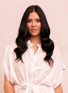 16 Inch Full Head Clip in Hair Extensions #1B Natural Black