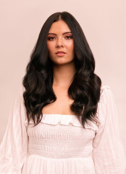 16 Inch Halo Hair Extensions #1B Natural Black