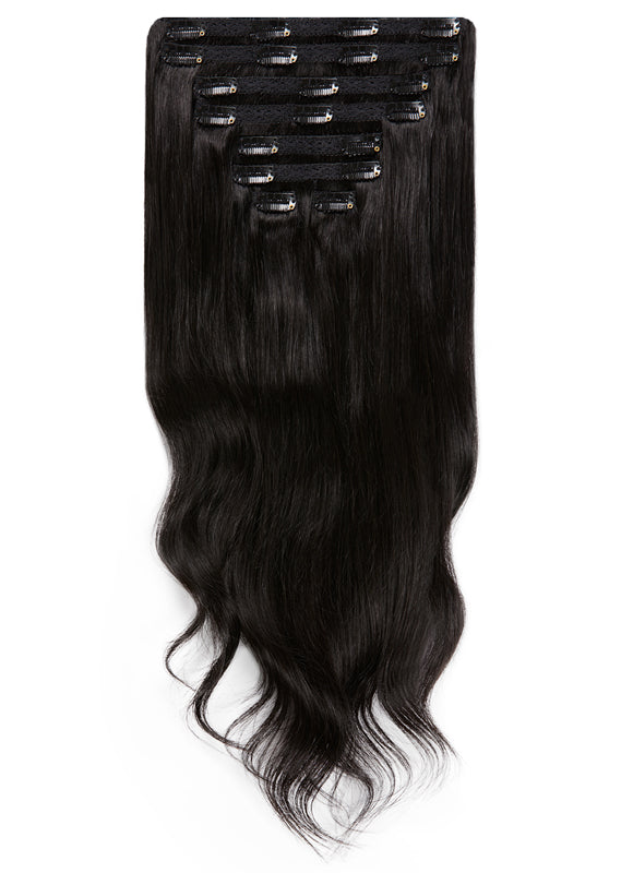 30 Inch Ultimate Volume Clip in Hair Extensions #1B Natural Black