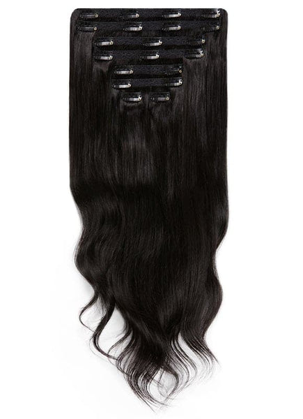20 Inch Ultimate Volume Clip in Hair Extensions #1B Natural Black