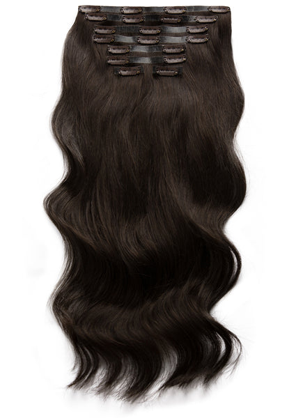 22 inch Seamless Clip in Hair Extensions #1C Mocha Brown