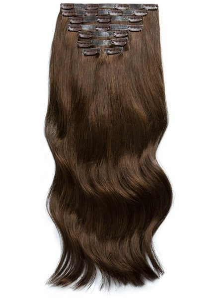 18 inch Seamless Clip in Hair Extensions #2 Dark Brown