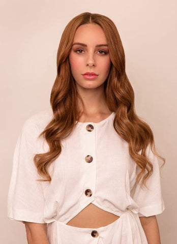 20 Inch Full Head Clip in Hair Extensions #6 Light Chestnut Brown