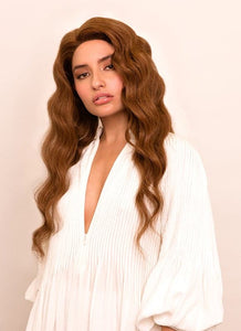 20 Inch Full Lace Human Hair Wig #6 Light Chestnut Brown