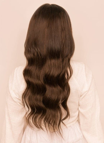 18 inch Seamless Clip in Hair Extensions #1C Mocha Brown