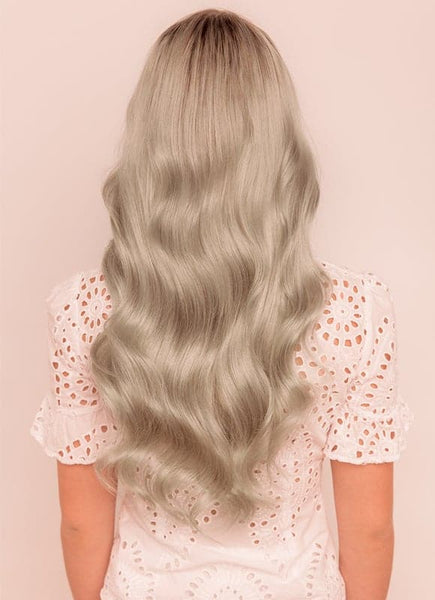 20 Inch Remy Tape Hair Extensions Silver