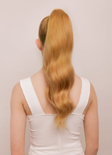 22 Inch Clip In Ponytail Extension #16 Light Golden Blonde