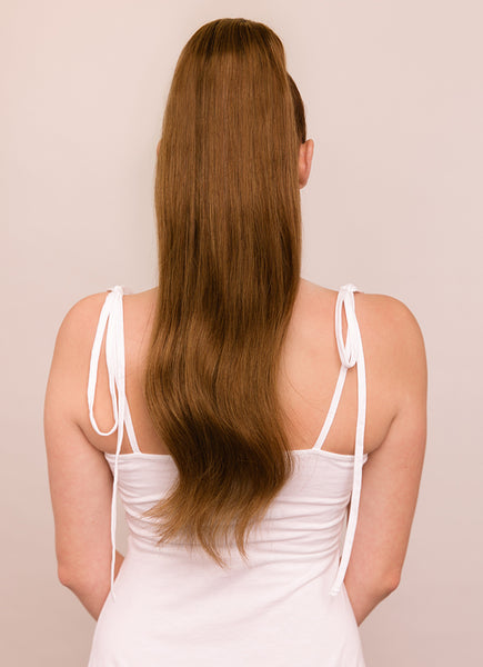 22 Inch Clip In Ponytail Extension #4 Medium Brown