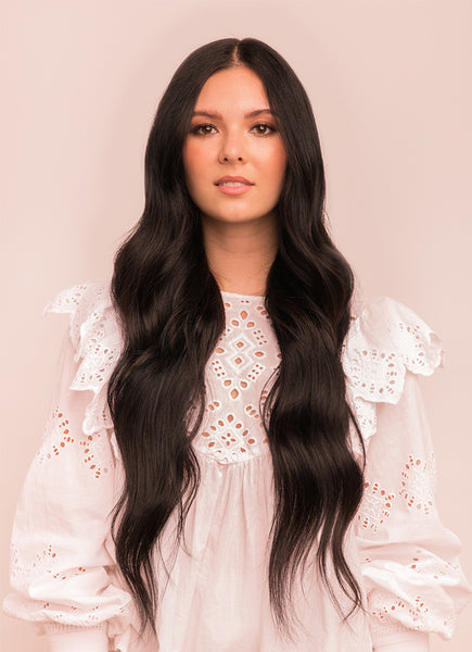 24 Inch Deluxe Clip in Hair Extensions #1B Natural Black