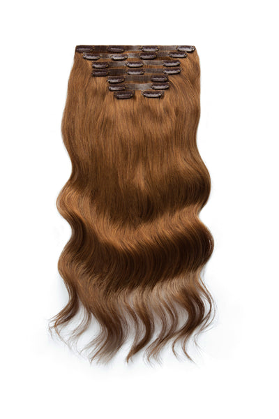 18 inch Seamless Clip in Hair Extensions #4 Medium Brown