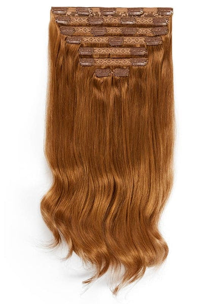16 Inch Full Head Clip in Hair Extensions #6 Light Chestnut Brown