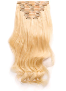 22 inch Seamless Clip in Hair Extensions #60 Light Blonde