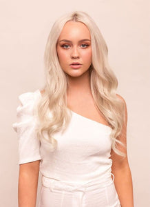20 Inch Full Head Clip in Hair Extensions #60W Platinum Blonde