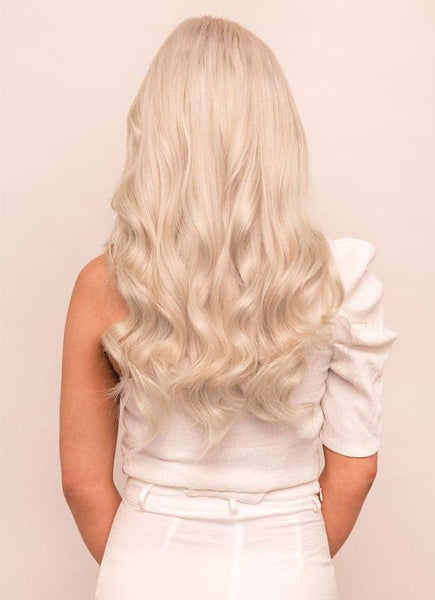 20 Inch Full Volume Clip in Hair Extensions #60W Platinum Blonde