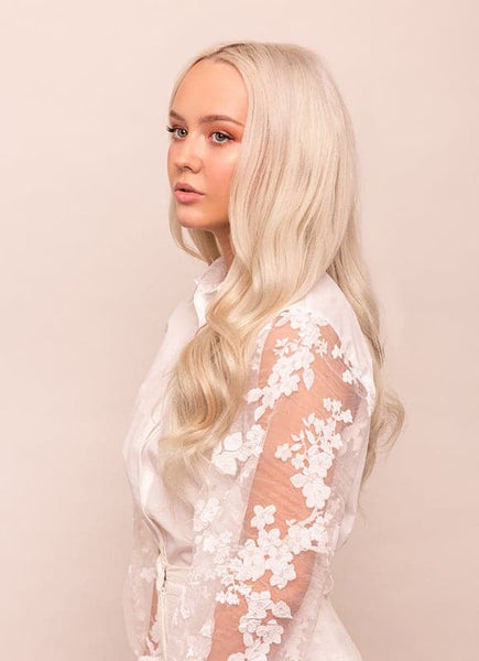 20 Inch Remy Invisi-Tape Hair Extensions Platinum Blonde