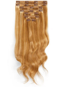 20 Inch Full Head Clip in Hair Extensions #8/613 Brown/ Blonde Mix