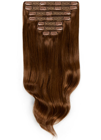 16 Inch Deluxe Clip in Hair Extensions #2 Dark Brown