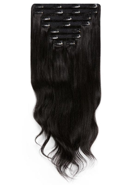 20 Inch Full Volume Clip in Hair Extensions #1B Natural Black