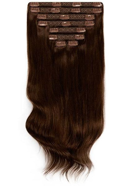 20 Inch Full Volume Clip in Hair Extensions #1C Mocha Brown