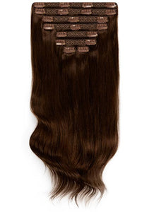 16 Inch Full Head Clip in Hair Extensions #1C Mocha Brown