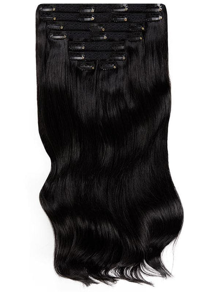 16 Inch Full Head Clip in Hair Extensions #1 Jet Black