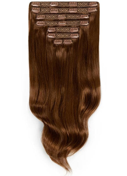 16 Inch Full Head Clip in Hair Extensions #2 Dark Brown