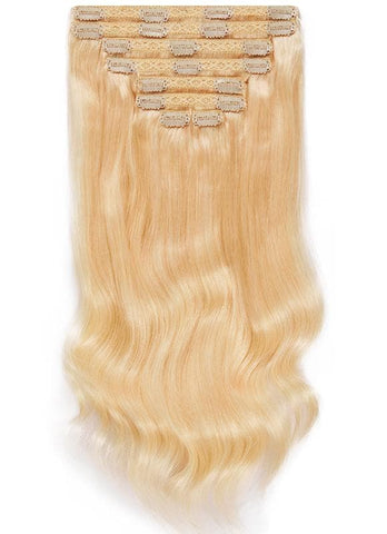 20 Inch Full Head Clip in Hair Extensions #60 Light Blonde