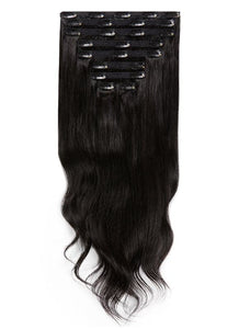16 Inch Deluxe Clip in Hair Extensions #1B Natural Black
