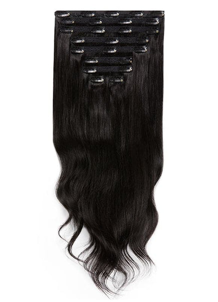 20 Inch Deluxe Clip in Hair Extensions #1B Natural Black
