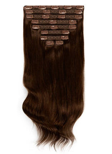 16 Inch Deluxe Clip in Hair Extensions #1C Mocha Brown