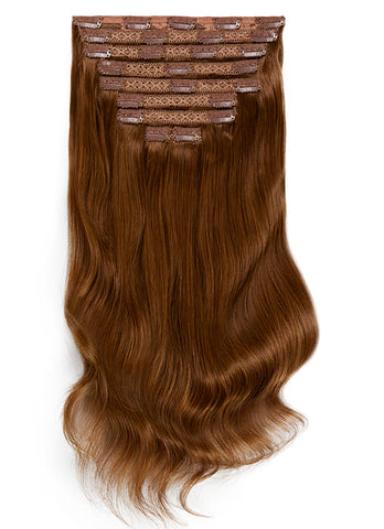 24 Inch Deluxe Clip in Hair Extensions #4 Medium Brown
