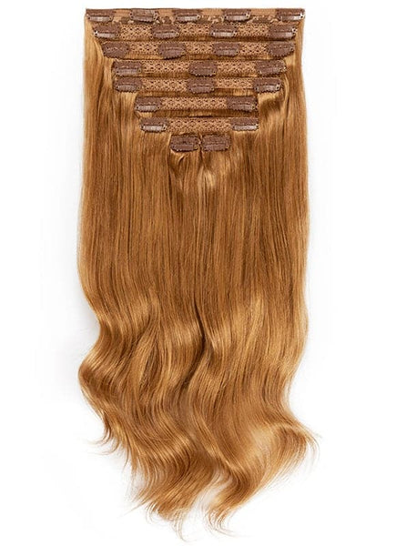 16 Inch Deluxe Clip in Hair Extensions #8 Chestnut Brown