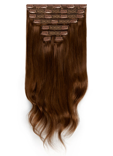 24 Inch Deluxe Clip in Hair Extensions #2 Dark Brown