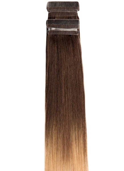 20 Inch Remy Tape Hair Extensions #T2/27+T2/60 Ombre
