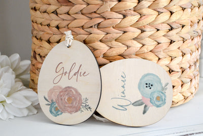 Pastel Floral Easter Basket Name Tags