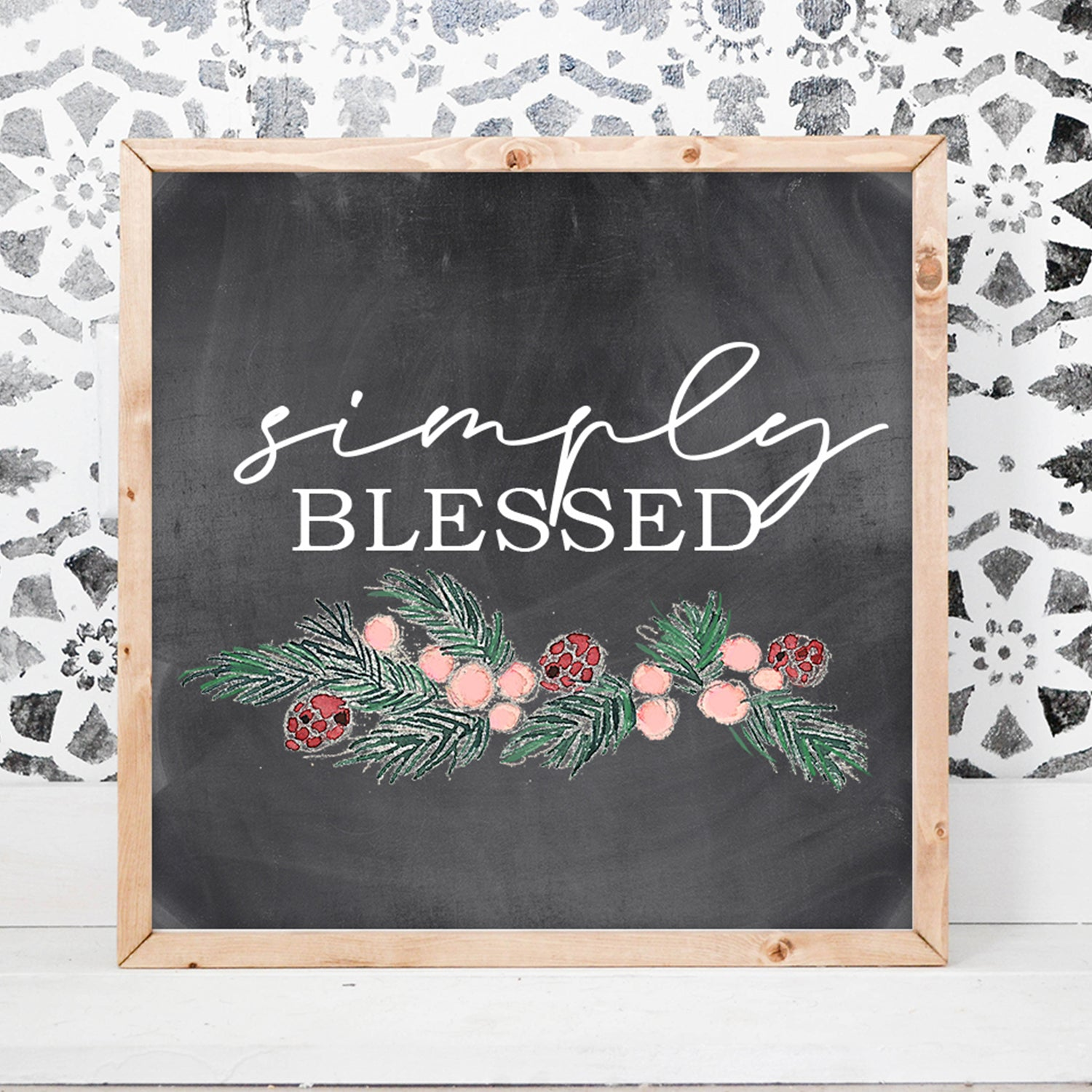 Simply Blessed Wood Framed Sign